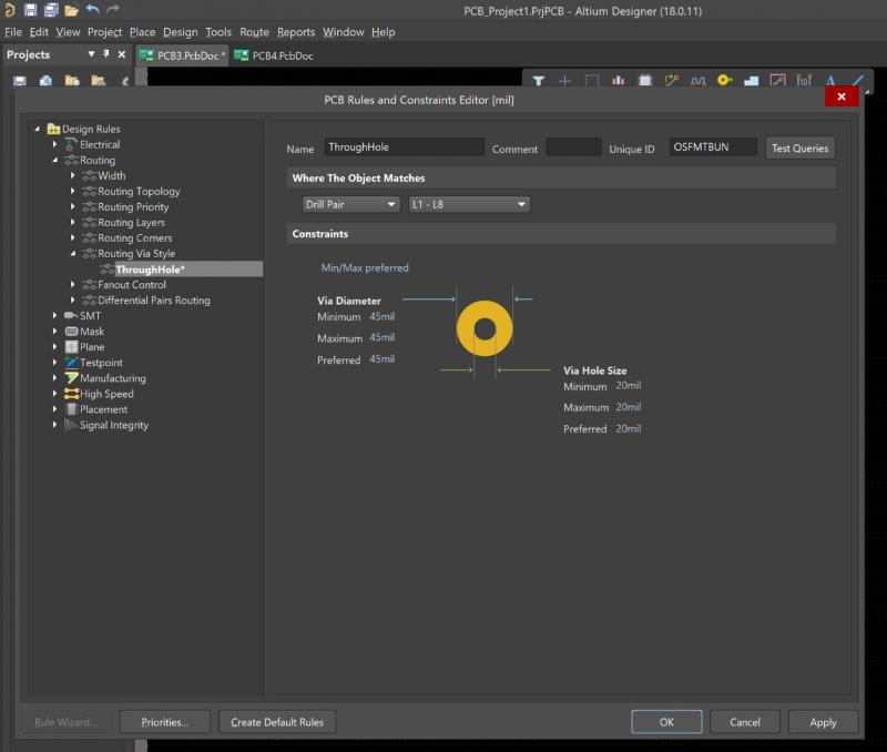Screenshot of via parameter editing in Altium Designer
