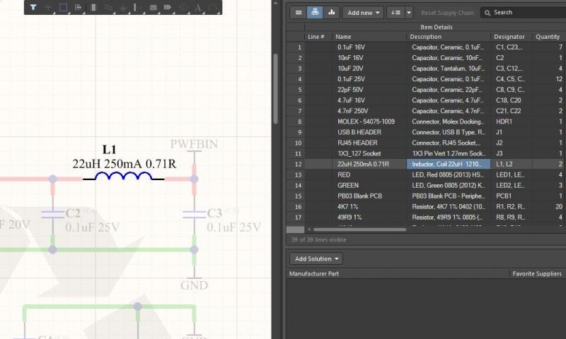 回路図とActive BOMでの横断選択のスクリーンショット