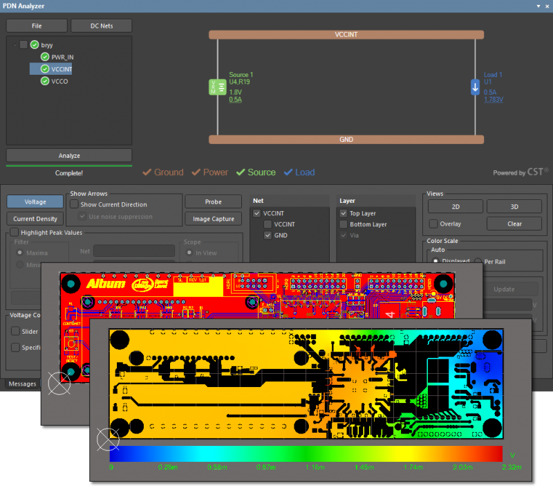 Screenshot of Altium Designer's PDN analyzer in action with a circuit board design