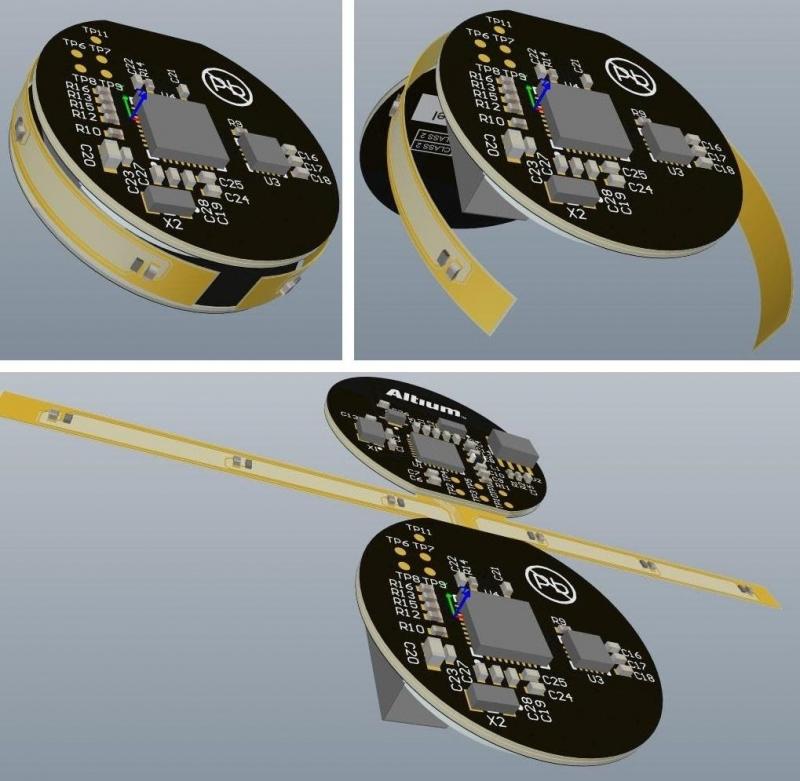 Screenshot von Altium Designer, der ein rundes Flex-Design in kreisförmigen Leiterplatten entfaltet