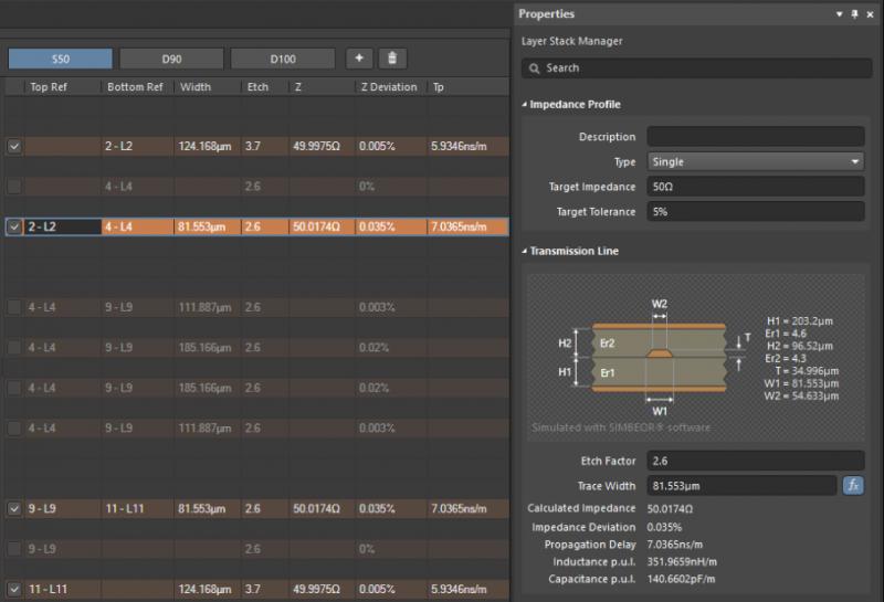 diseño de acumulación de PCB y calculadora de guía de onda coplanar en Altium Designer