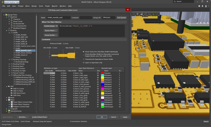 3D view of a PCB layout and design rules in Altium Designer