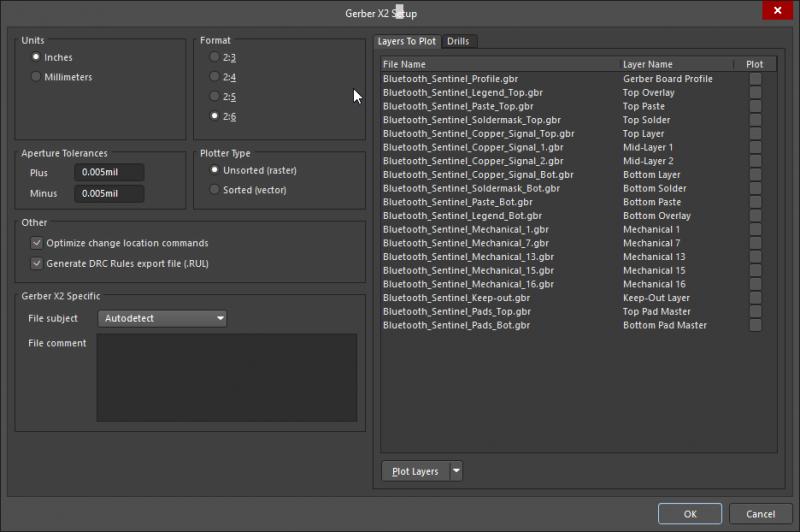 Liste de fichiers Gerber dans la visionneuse pour fichiers PCB