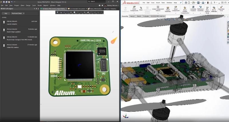 Screenshot of the MCAD collaboration interface in Altium Designer