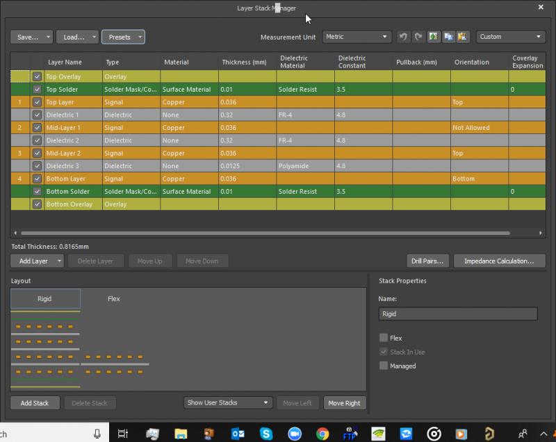 Screenshot of the layer stackup editor in Altium Designer
