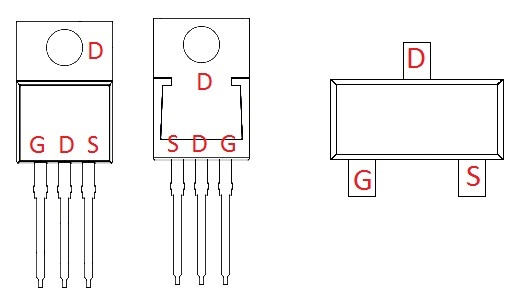 alternativopartes del transistor de pinout del MOSFET) Los