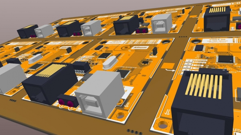 3D view of a PCB fabrication panel in 3D PCB design software