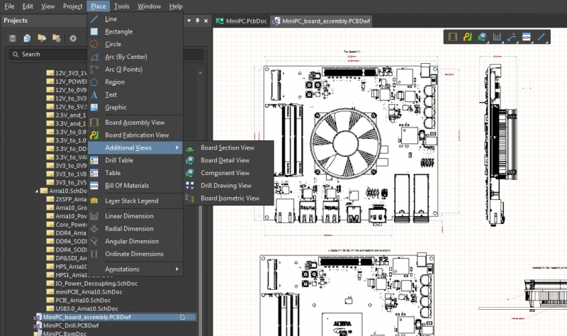 Screenshot showing PCB assembly services data in Altium Designer