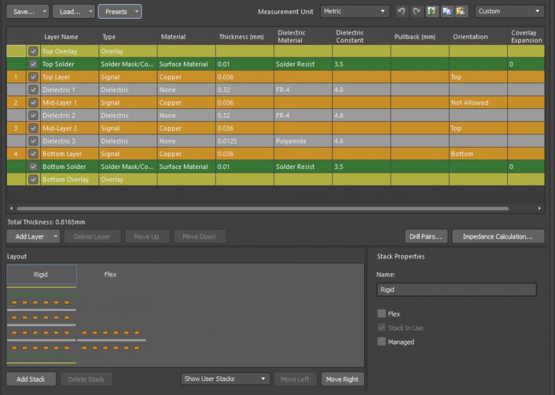Captura de pantalla de la pila de capas de AltiumDesigner para la gestión de circuitos impresos