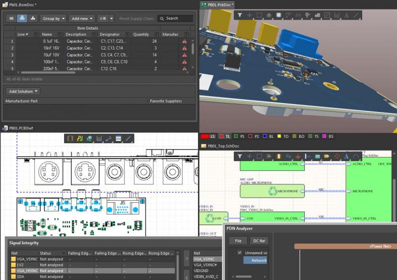 Screenshot of multiple CAD circuit tools in Altium Designer