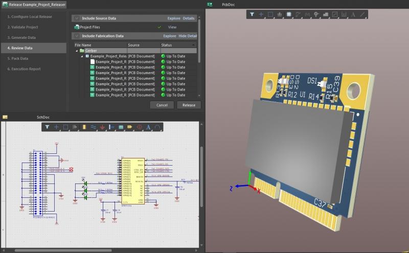 Screenshot showing project releases in Altium Designer