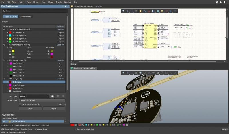 Capture d'écran d'un schéma et de tracés flexibles de PCB circulaires dans Altium Designer