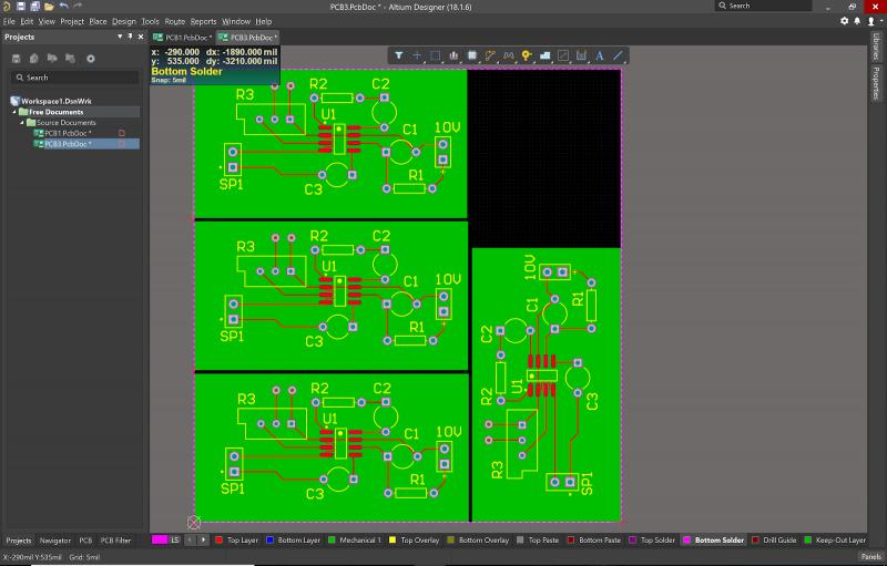 Altium Designerの面付けエディターのスクリーンショット