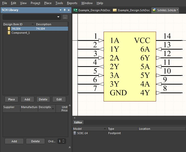 New schematic symbol with IC pin numbers