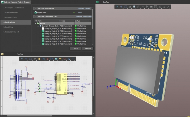 AD18 screenshot of project releaser in PCB layout time estimation