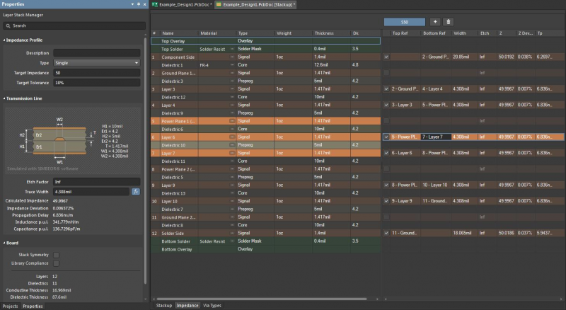Screenshot of the Layer Stack Manager in Altium Designer