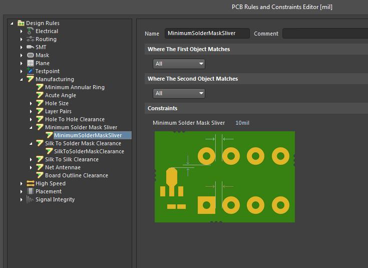 Bearbeiten von Designregeln für Hersteller im Bereich Militär in Altium Designer