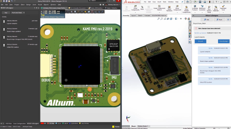Screenshot of the 3D design and MCAD collaboration tools in Altium Concord Pro