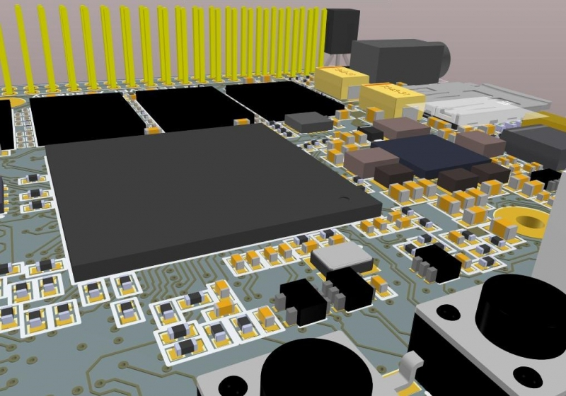Screenshot of Altium Designer 3D layout in free Gerber file editor