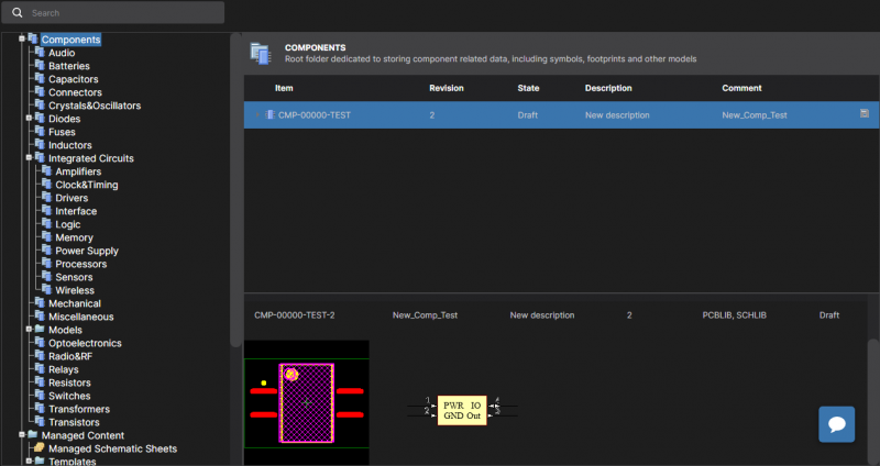 Screenshot showing new electronic components management in Altium Concord Pro