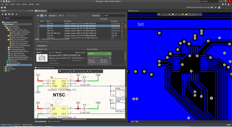 Screenshot of components sourcing and supply chain data in Altium Designer