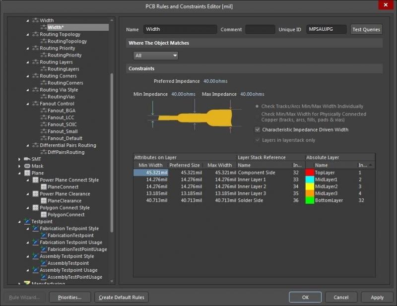 Impedance management within Altium Designer