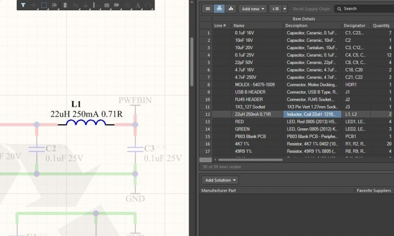 Screenshot of cross-selecting between the schematic and Active BOM