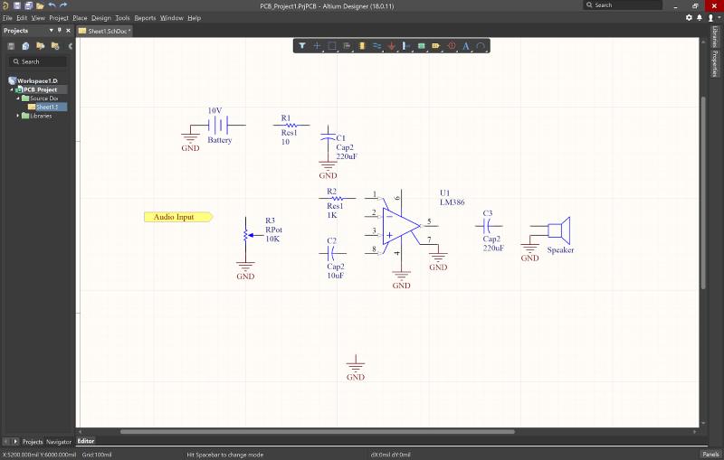 Il software CAD schematico consente di selezionare e disporre i componenti all'interno di un editor schematico per disegnare circuiti stampati.