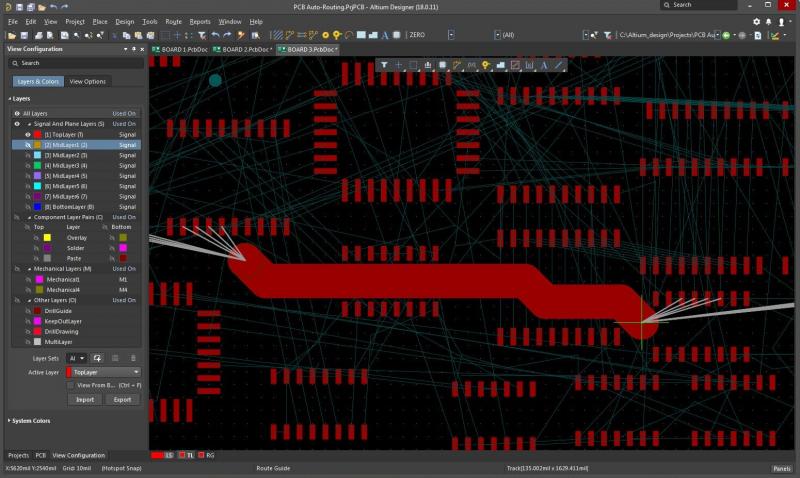Screenshot of auto-interactive routing in Altium Designer