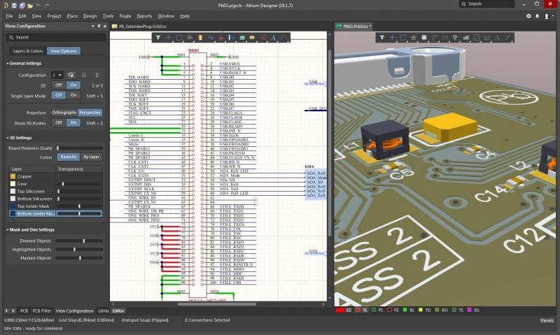 回路図CADソフトウェアの回路図と3Dレイアウトのスクリーンショット