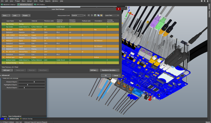 3D printed circuit board model and PCB stackup design in Altium Designer