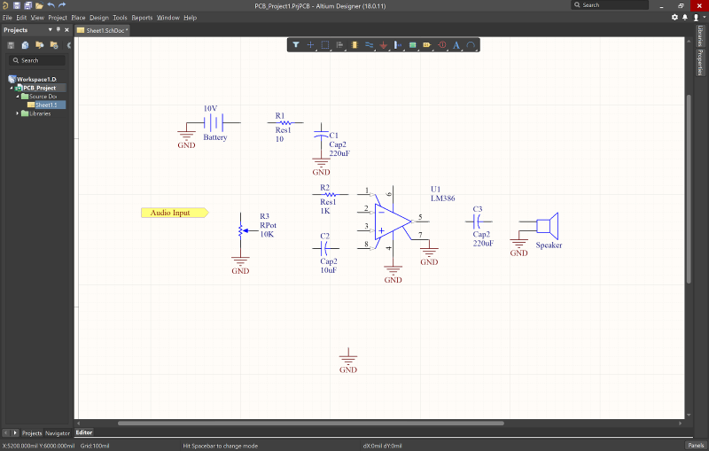 Screenshot of the schematic editor in schematic CAD software