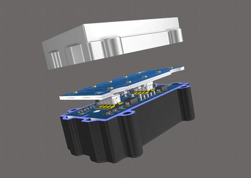 AD18のPCB配線ソフトウェアで実行される3Dマルチボード アセンブリのスクリーンショット
