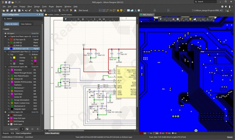 Screenshot of AD18 displaying schematic and layout together