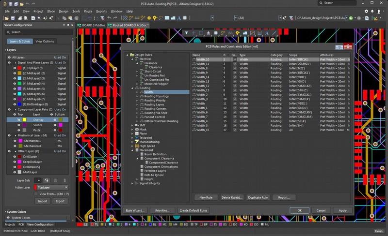 AD18に搭載されるPCB配線ソフトウェアのルールメニューのスクリーンショット