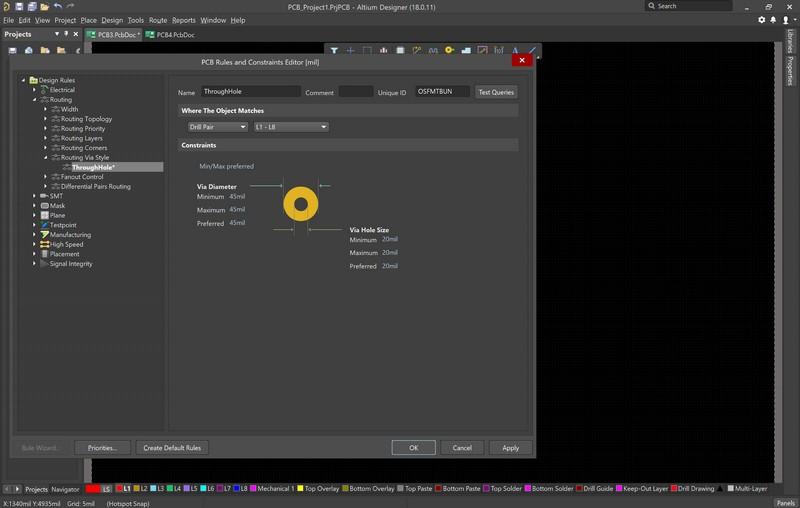 Altium Designerにおけるビアのパラメーター編集のスクリーンショット