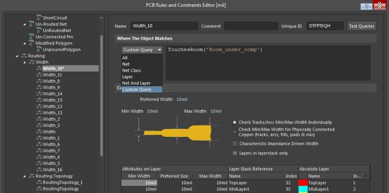 Capture d'écran de l'éditeur de règles de contrainte pour le dimensionnement des pistes dans Altium Designer