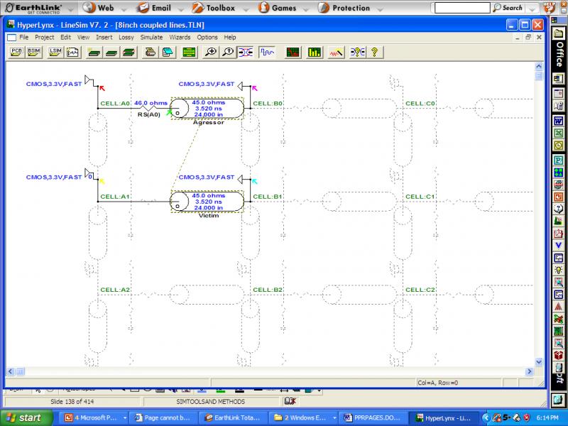 Screenshot of circuit diagram to calculate crosstalk