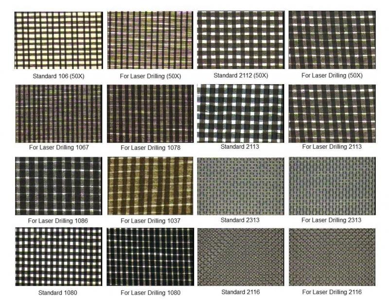 Foto di tessuti e materiali dielettrici in fibra di vetro standard e perforabili con laser