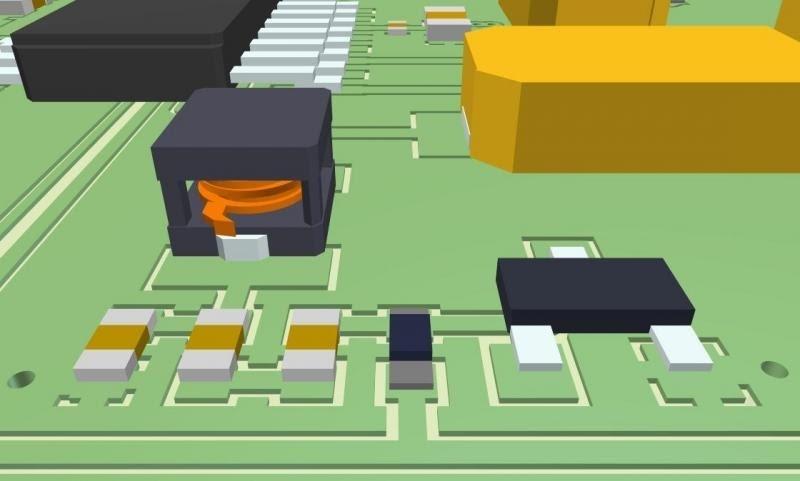 Esempio di layout poligonale all'interno di un modello 3D per un PCB in rame con Altium Designer