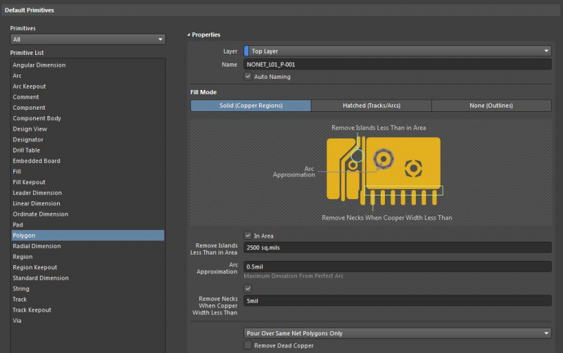 Creating design rules for vias, pads, and polygons in Altium Designer