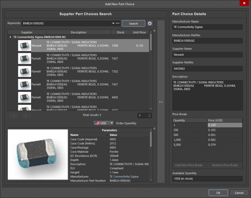 Screenshot of the component search and compare features in Altium Designer