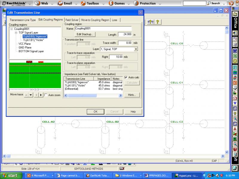 Screenshot of geometry of coupled pair