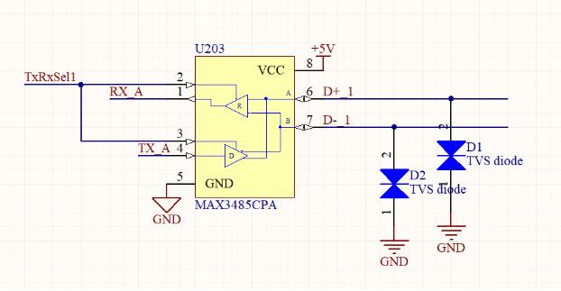 Screenshot of a schematic with a TVS diode in Altium Designer