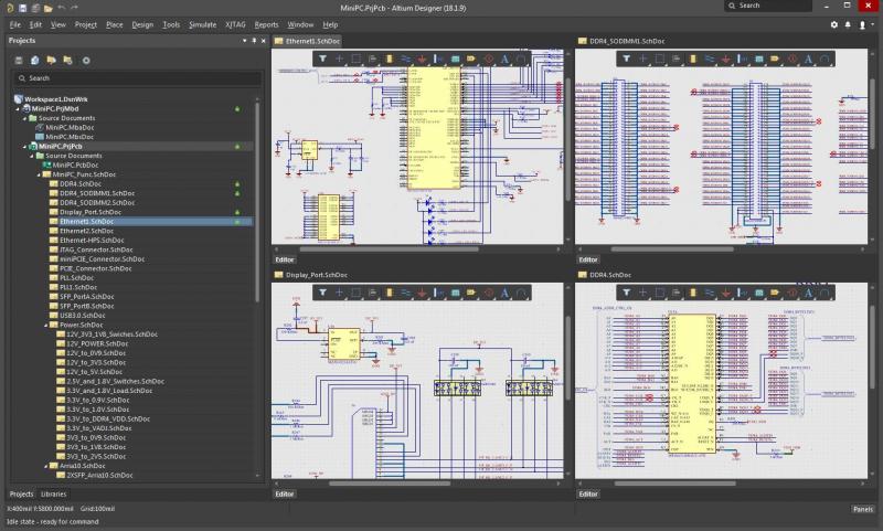 Screenshot of hierarchical schematic design in Altium Designer
