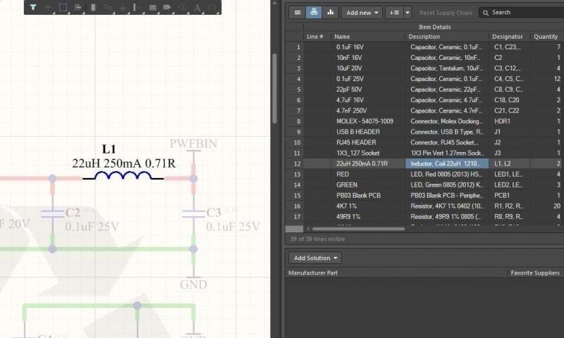Utilizza Active BOM Tool per selezionare in modo incrociato i componenti nello schematico