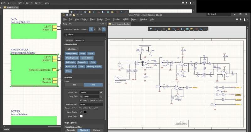 Hierarchische Schaltpläne in Altium Designer - Schaltplaneditor
