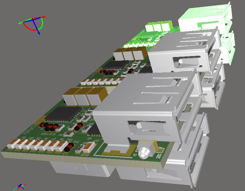 3D view of modular USB design for PCB enclosure design