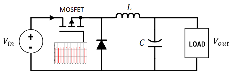 How to select an inductor for a buck converter in a circuit diagram
