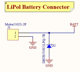 Battery Connection and TVS Diode schematic